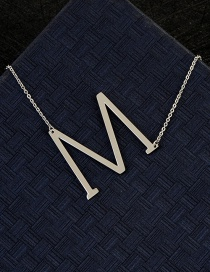 Fashion Silver Color M Letter Shape Decorated Necklace