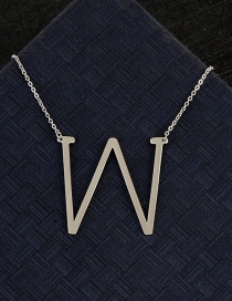 Fashion Silver Color W Letter Shape Decorated Necklace