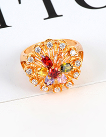 Fashion Multi-color Flower Shape Decorated Ring