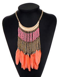 Fashion Pink Tassel Design Feather Necklace