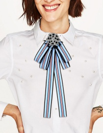 Fashion Blue+black Round Shape Decorated Bowknot Brooch