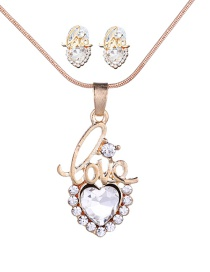 Fashion Gold Color Letter Shape Decorated Heart Jewelry Sets