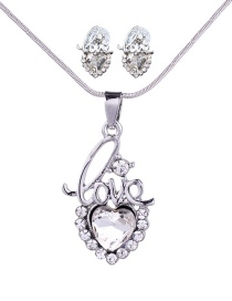 Fashion Silver Color Letter Shape Decorated Heart Jewelry Sets