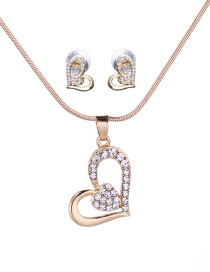Fashion Gold Color Full Diamond Decorated Heart Jewelry Sets