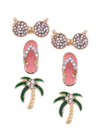 Fashion Gold Color Full Diamond Decorated Earrings(3pcs)