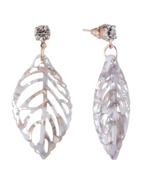 Fashion Gray Leaf Shape Decorated Hollow Out Earrings