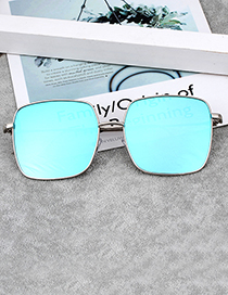 Fashion Blue Square Shape Decorated Sunglass
