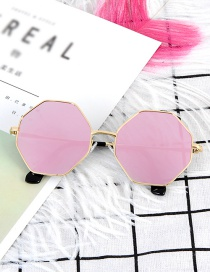 Fashion Pink Geometry Shape Decorated Sunglass