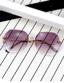 Fashion Coffee Geometry Shape Decorated Sunglass