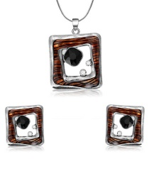 Fashion Silver Color Square Shape Decorated Jewelry Set (3 Pcs )