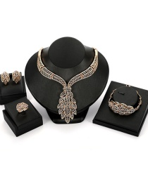Fashion Gold Color Leaf Shape Decorated Jewrlry Set( 4 Pcs )