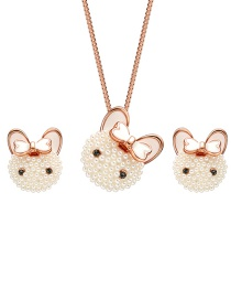 Fashion Gold Color Rabbit Shape Decorated Jewelry Set (3 Pcs )