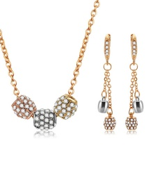Fashion Gold Color Color Matching Decorated Jewelry Set (3 Pcs)