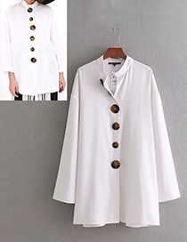 Fashion White Button Decorated Shirt