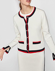 Fashion White Color Matching Decorated Coat