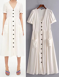 Fashion White Button Decorated Dress
