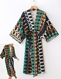 Fashion Multi-color Geometry Pattern Decorated Dress