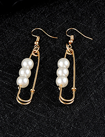 Fashion Gold Color Pin Shape Decorated Earrings