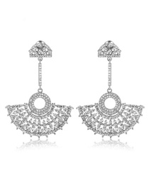 Fashion Silver Color Sector Shape Decorated Earrings