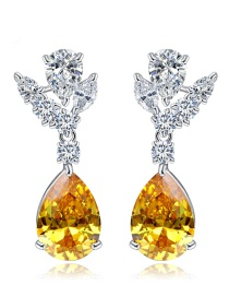 Fashion Yellow Water Drop Shape Decorated Earrings