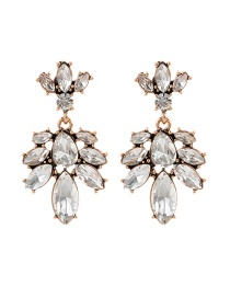 Fashion White Water Drop Shape Decorated Earrings