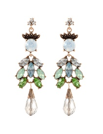 Fashion Multi-color Oval Shape Decorated Earrings