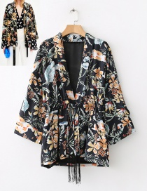 Fashion Black Flower Pattern Decorated Coat
