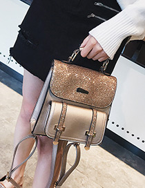 Fashion Gold Color Pure Color Decorated High-capacity Backpack