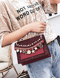 Fashion Claret Red Stars Pendant Decorated Shoulder Bag