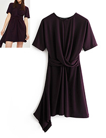 Fashion Purple Pure Color Decorated Dress