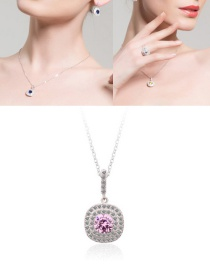 Fashion Pink Full Diamond Decorated Long Necklace
