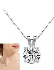 Fashion White Round Shape Diamond Decorated Necklace