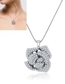 Fashion White Rose Shape Design Pure Color Necklace