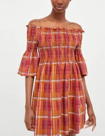 Fashion Orange Off Shoulder Design Stripe Design Dress