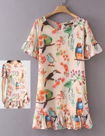 Fashion Pink Birds&flowers Pattern Decorated Short Sleeves Dress