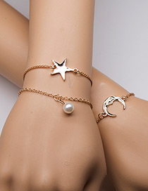 Fashion Gold Color Moon&pearls Decorated Bracelet(3pcs)