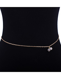 Fashion Gold Color Diamond Decorated Body Chain