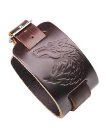 Fashion Brown Wolf Pattern Decorated Bracelet