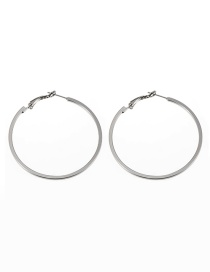 Fashion Silver Color Pure Color Design Round Shape Earrings(middle)