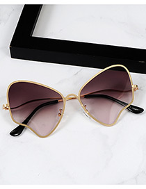 Fashion Brown Wings Shape Design Simple Sunglasses