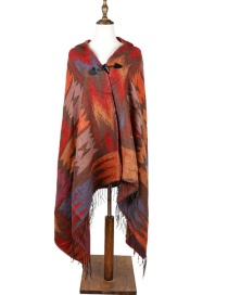 Fashion Orange Geometric Shape Pattern Decorated Thicken Scarf