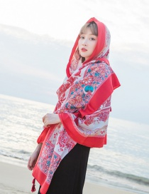 Fashion Red+white Flowers Pattern Decorated Beach Scarf