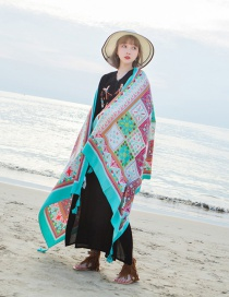 Fashion Green+white Square Shape Pattern Decorated Beach Scarf