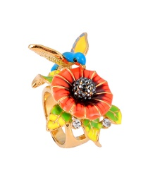 Fashion Multi-color Bird Shape Decorated Flower Ring