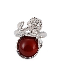 Fashion Claret-red Round Shape Decorated Flower Ring