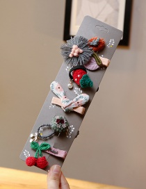 Lovely Red+pink Cherry&flower Decorated Hair Band(5pcs)