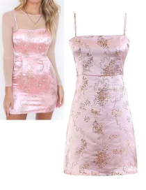 Fashion Pink Flower Pattern Decorated Suspender Dress