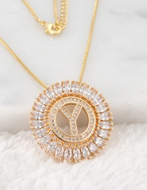 Fashion Gold Color Y Letter Shape Decorated Necklace