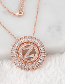 Fashion Rose Gold Z Letter Shape Decorated Necklace