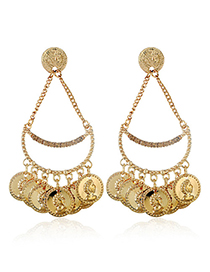 Fashion Gold Color Coin Shape Design Earrings